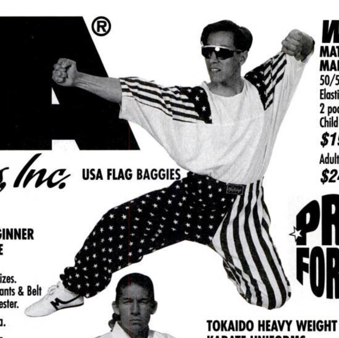 found this guy in the january 1997 issue of black belt magazine. this was one of the worst things about living in the 1990s. there were millions of people who dressed like this but they all knew karate so everyone was too afraid to tell them they looked like shit