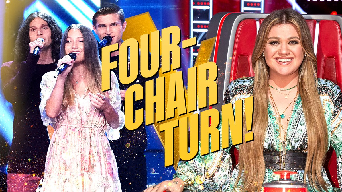 And the first 4-CHAIR TURN of the season goes to... @GirlNamedTom! 🙌 #VoicePremiere #TeamKelly https://t.co/ZIapy03uoE