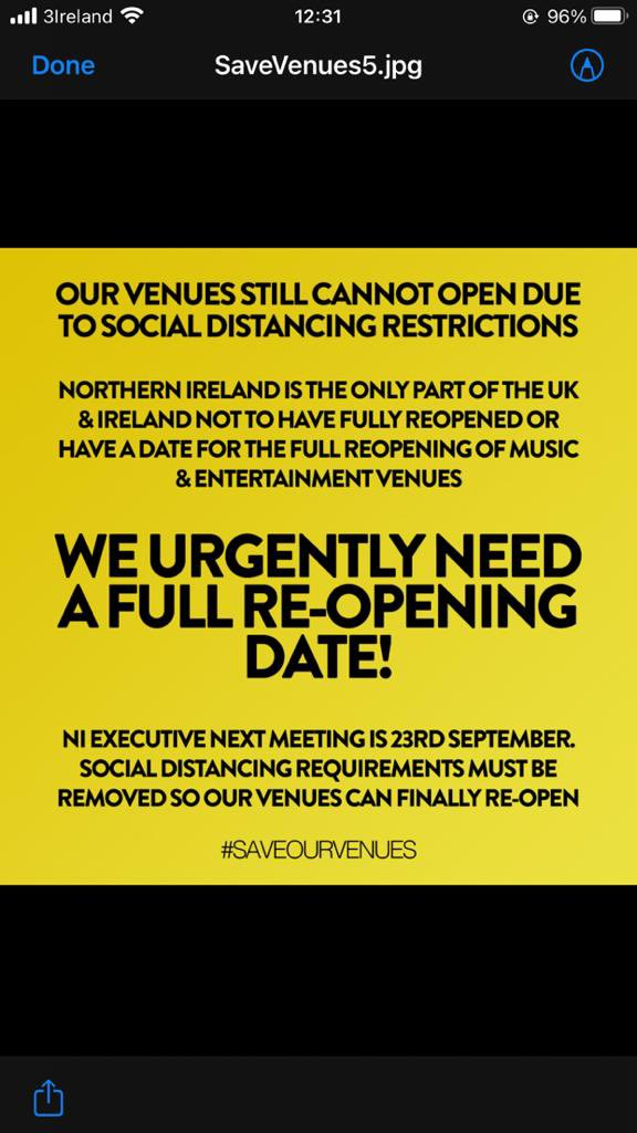 The NI Executive must take action now to prevent further event cancellations and re-open our venues. SAVE OUR VENUES 👇