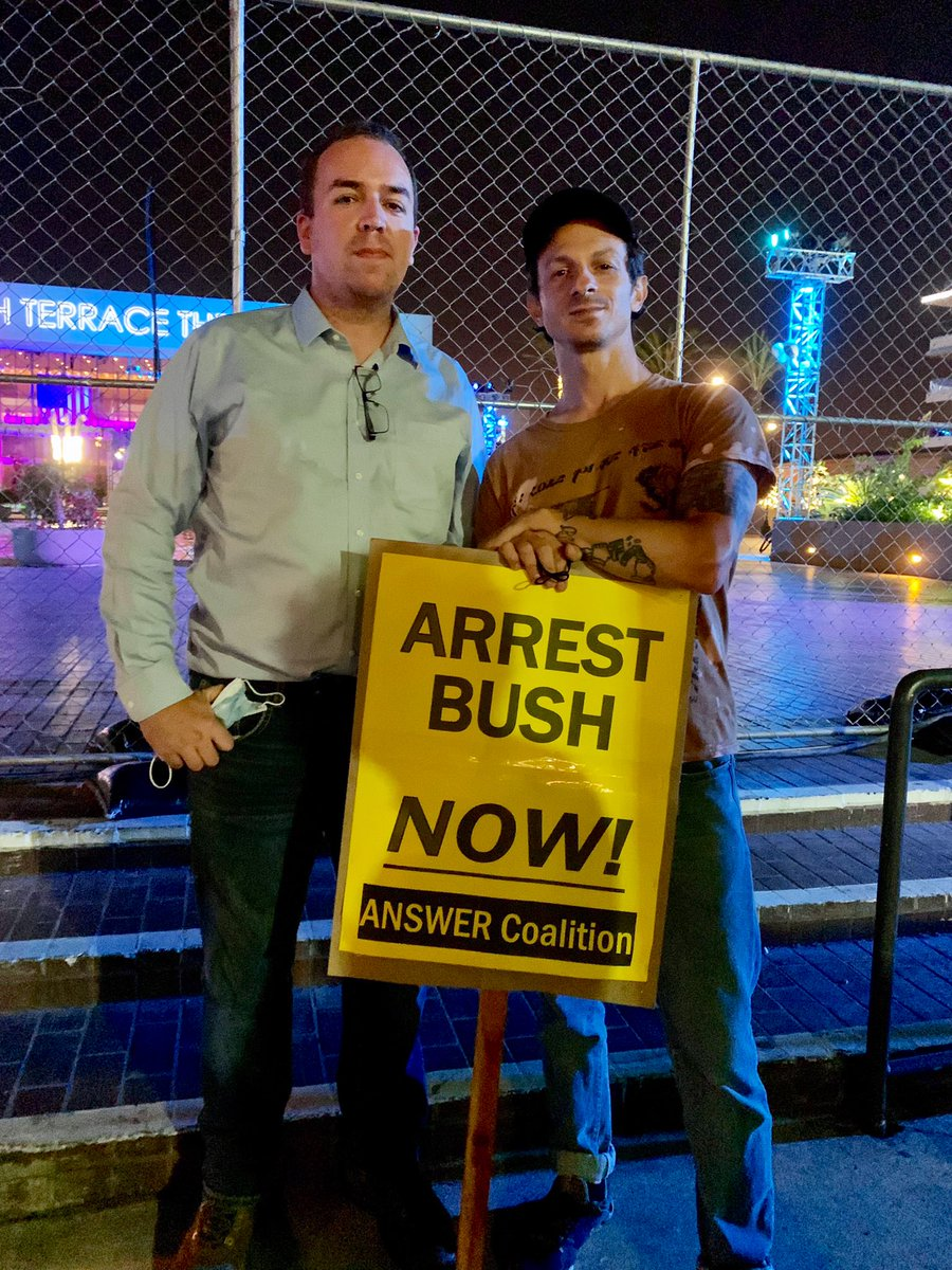 George W. Bush should never be allowed again to give a speech without being shut down. Last night he was disrupted in LA by @MikePrysner and tonight I crashed his party in Long Beach, CA. https://t.co/vpkgMZKl6S