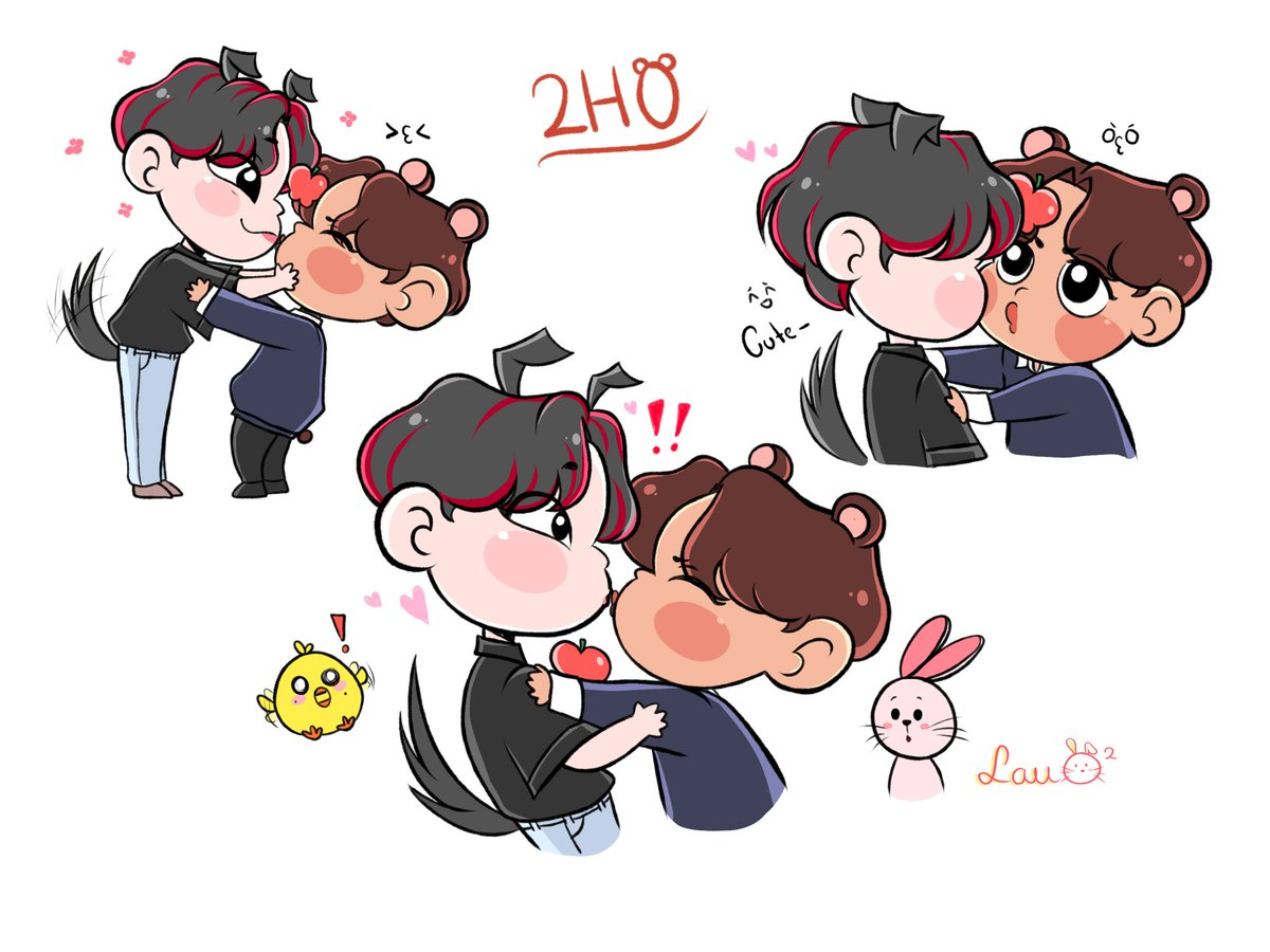 I'm late as always, but I had to draw this beautiful 2ho moment The chicken and the bunny are Min and Sangie 😞 ❤️ #ATEEZ #ateezfanart #YUNHO #JONGHO #2ho #투호 #윤호 #종호