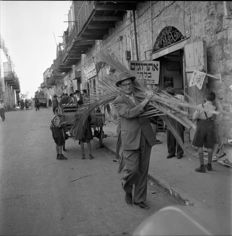 جانب من التحضير لعيد المظلة (سوكوت) اليهودي في أورشليم عام 1955. @NLIsrael …