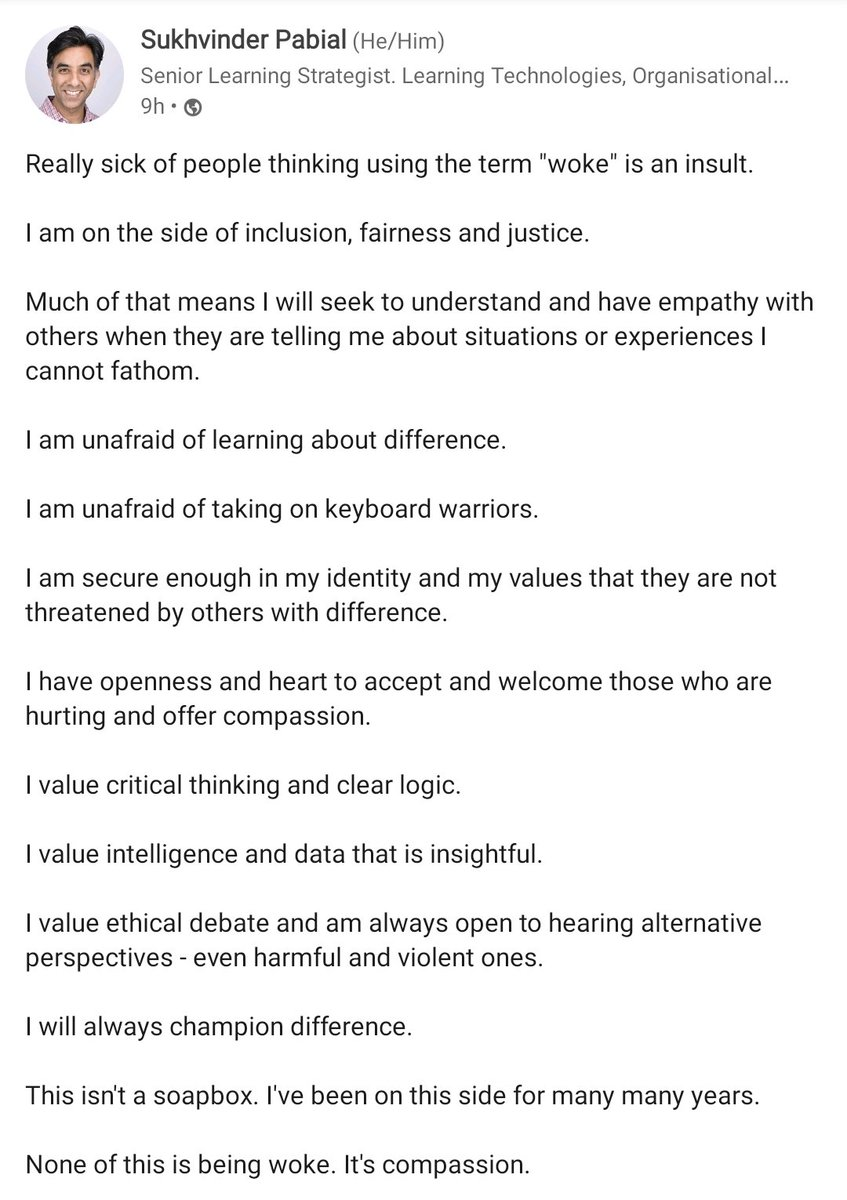 On being woke. By me over on LinkedIn.