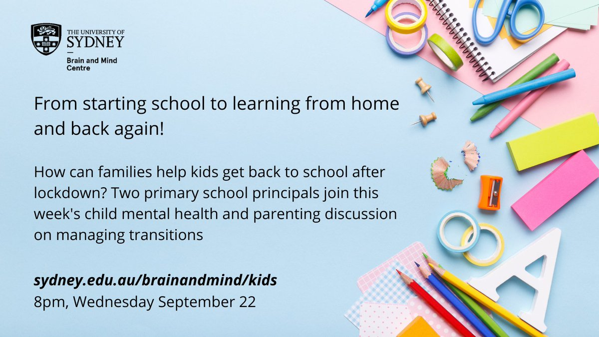 This Wednesday, join our kids mental health chat with two passionate educators really keen to seeing their students back at school! But change isn't always easy. How can families help primary schoolers prepare to go back to school after lockdown? sydney.edu.au/brainandmind/k…