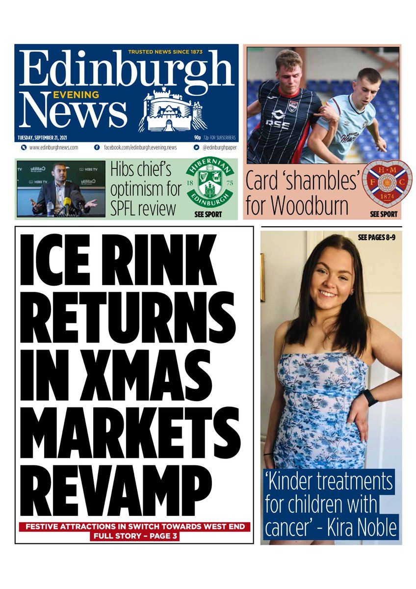 EDINBURGH EVENING NEWS: Ice rink returns #TomorrowsPapersToday