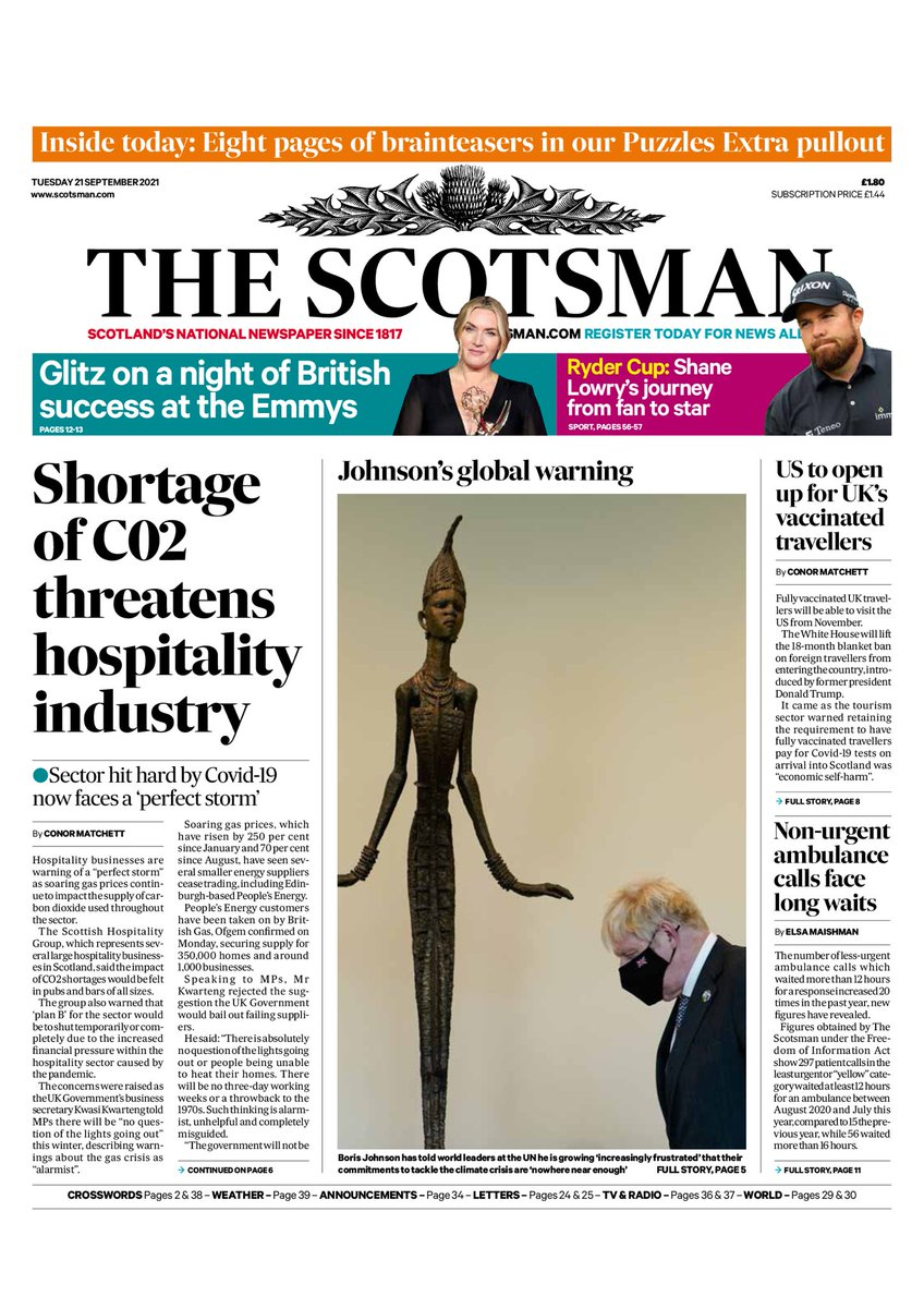 THE SCOTSMAN: Shortage of CO2 threatens hospitality industry #TomorrowsPapersToday