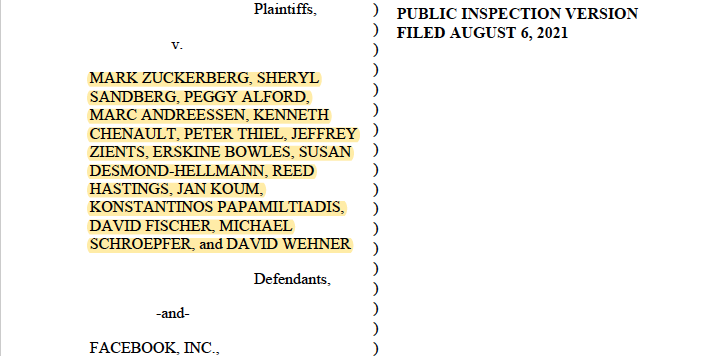 !!! news. mother of all lawsuits quietly filed last month vs Facebook in Delaware. I'll explain why it avoided notice until now in a bit but Zuckerberg, Sandberg, CFO, board inc Peter Thiel and Palantir are defendants - it's a result of sealed docs between FB execs and board. /1