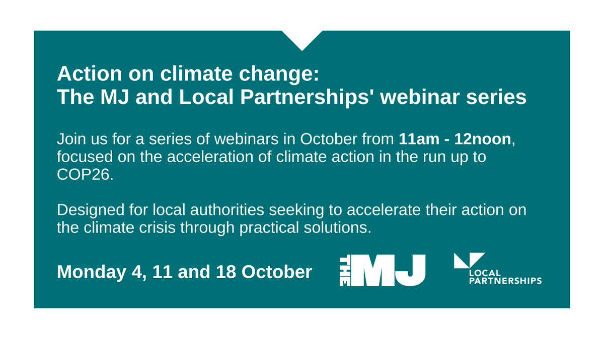 Join us for a series of webinars in October, aimed at local authorities seeking to accelerate their action on the climate crisis through practical solutions.  Register here 👉 https://t.co/i9V90cq8e7