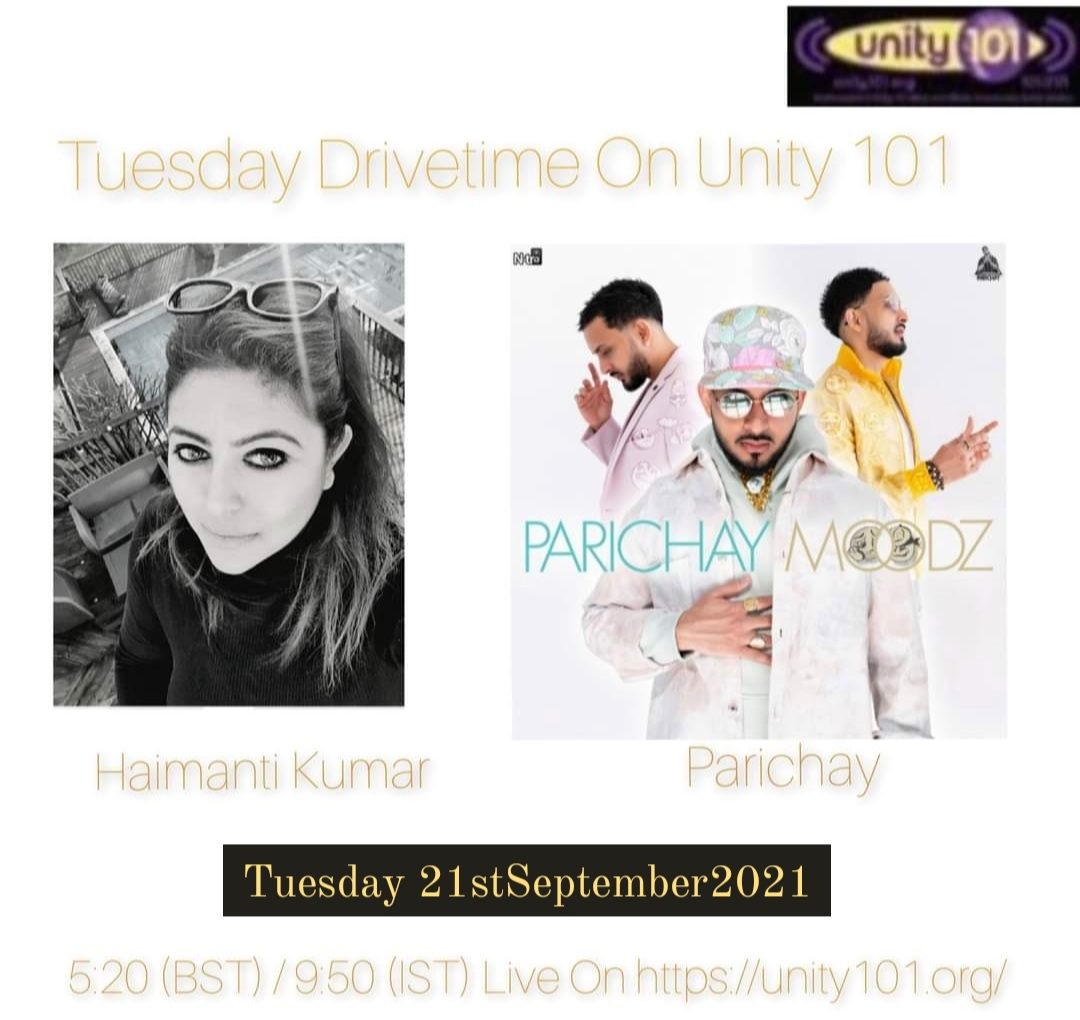 Catch me live in conversation with the immensely talented and popular bollywood singer @ParichayOnline today on Drivetime on Unity 101. We will be talking about his 3rd video single 'Kinaara' from the album Moodz.  #newsingle #moodz #unity101 🙌🔥🔥
