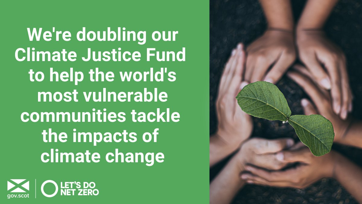 We recognise that the poor and vulnerable are the first to be affected by climate change. From next year Scotland's #ClimateJustice Fund will increase to £6 million per year, aiming to helping build more resilient and equal communities. Find out more➡️gov.scot/news/climate-j…