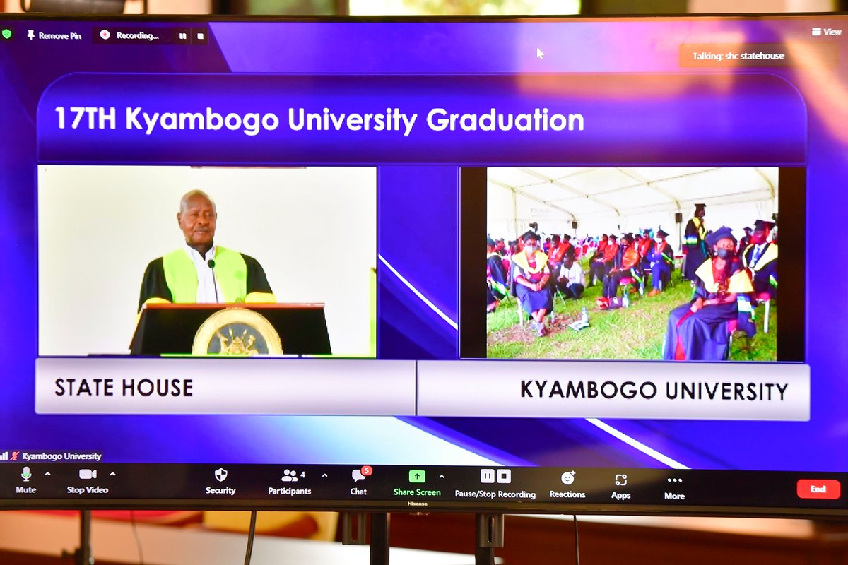 With Maama @JanetMuseveni, we officiated (virtually) the 17th graduation ceremony for Kyambogo University. I congratulate the graduands and their parents on this milestone. It is just the beginning, don't behave as if you have arrived! Have an attitude of continuous learning.