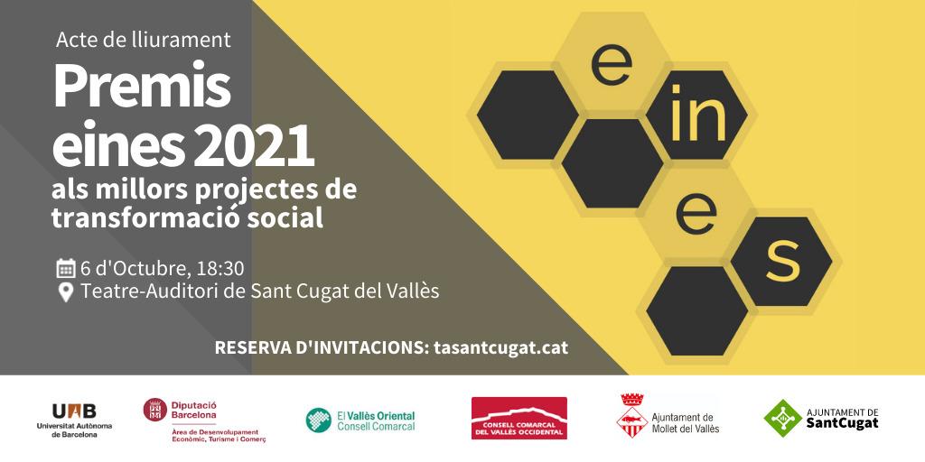 🔊Acte de lliurament del 'Premis eines' als millors projectes de transformació social ⏰Dimecres 6 d'octubre, 18:30 h 🏢@TeatreAuditori #SantCugat    🎟️Reserva d'invitacions a📲 https://t.co/54wClyh5Zh  @ElenaVilaGomez @UABBarcelona @consellvallesoc @diba @ajmollet @CCV_ORIENTAL