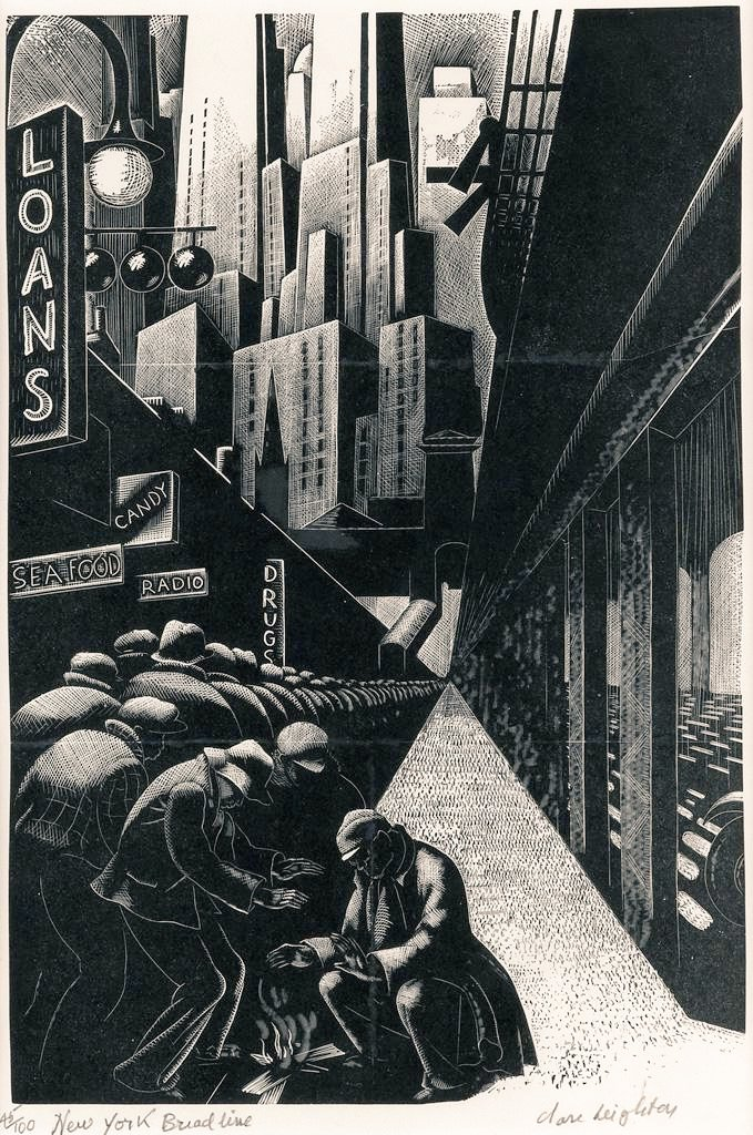 Clare Leighton, Bread Line, New York, 1932, wood engraving on paper #WomensArt