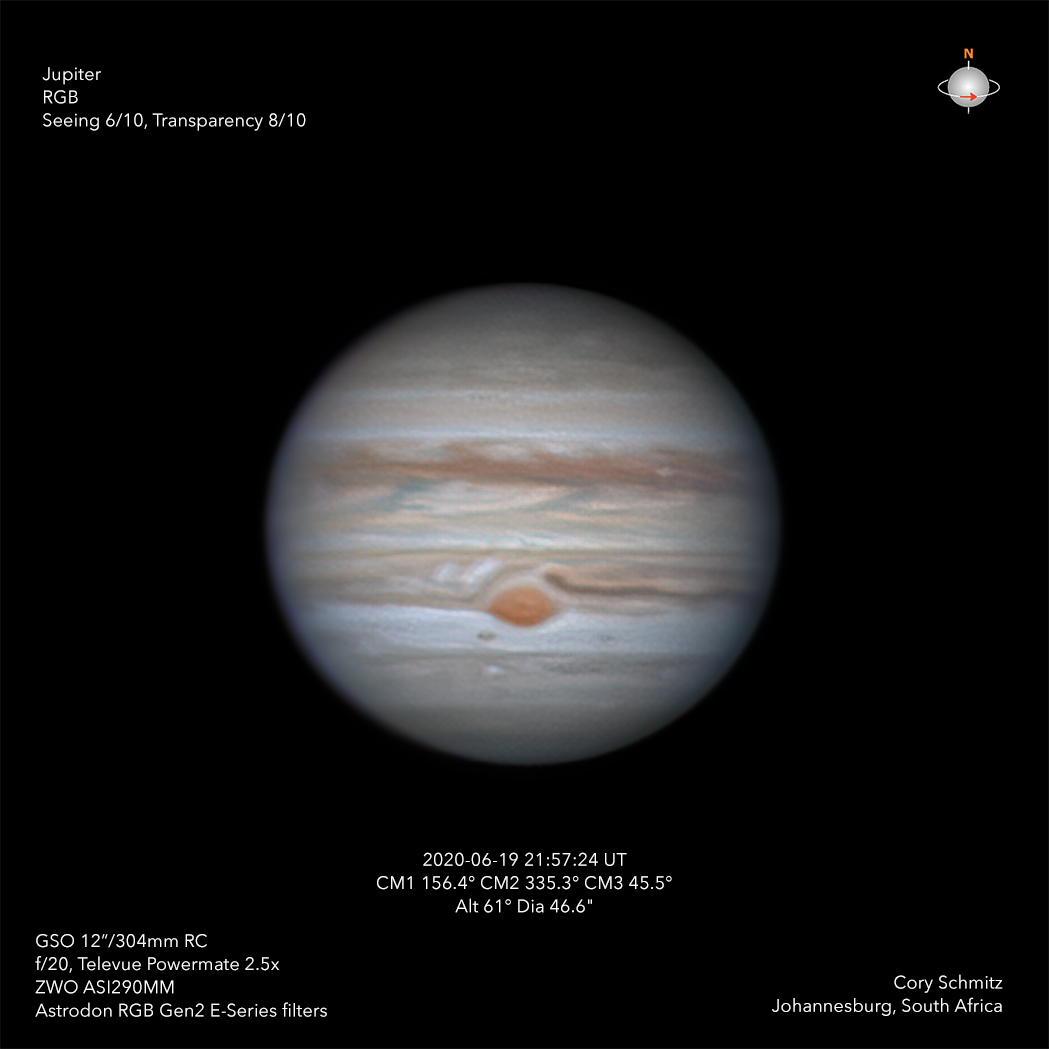 After a second go at #Jupiter and the #GRS in 20 hours on June 19, (last night), I was pleasantly surprised with this result.  If you watched the livestream last night while I captured this, you may also be surprised. I was not optimistic.  #astronomy #planetary #Astrophotography https://t.co/UKepQzrPoD