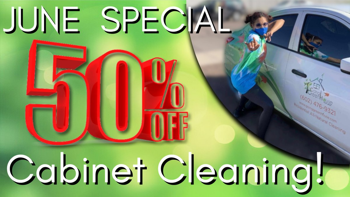 50% off a CABINET CLEANING with any BASIC SERVICE! Grab it before June Ends! https://t.co/jxXUB6PsAm #saturdaysparkle #saturdaypromo #monthlyspecial #junespecial #cabinetcleaning #saturdaysparkle #smallbusinessstrong #goinggreenhouse #greenhousecleaning #az https://t.co/Zd0v3Fzdbf