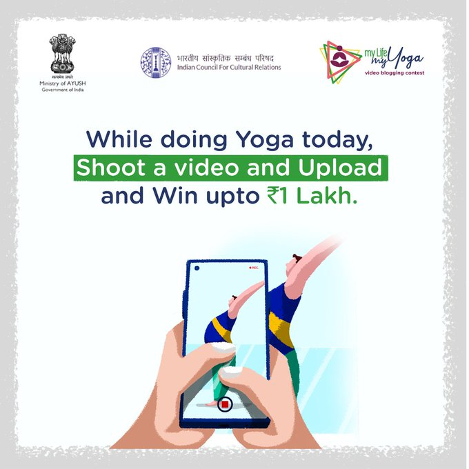 International Day of Yoga - Upload your yoga video NOW and take part in the #MyLifeMyYoga  Video blogging contest.   Last few hours left.   IMAGES, GIF, ANIMATED GIF, WALLPAPER, STICKER FOR WHATSAPP & FACEBOOK