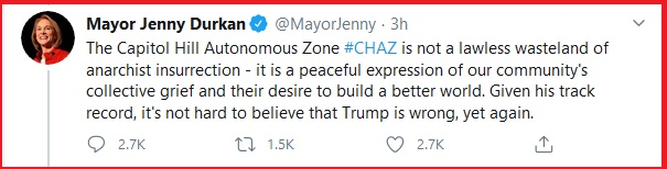 Two shot, one DEAD. This did not age well. Seattle @MayorJenny now has blood on her hands.