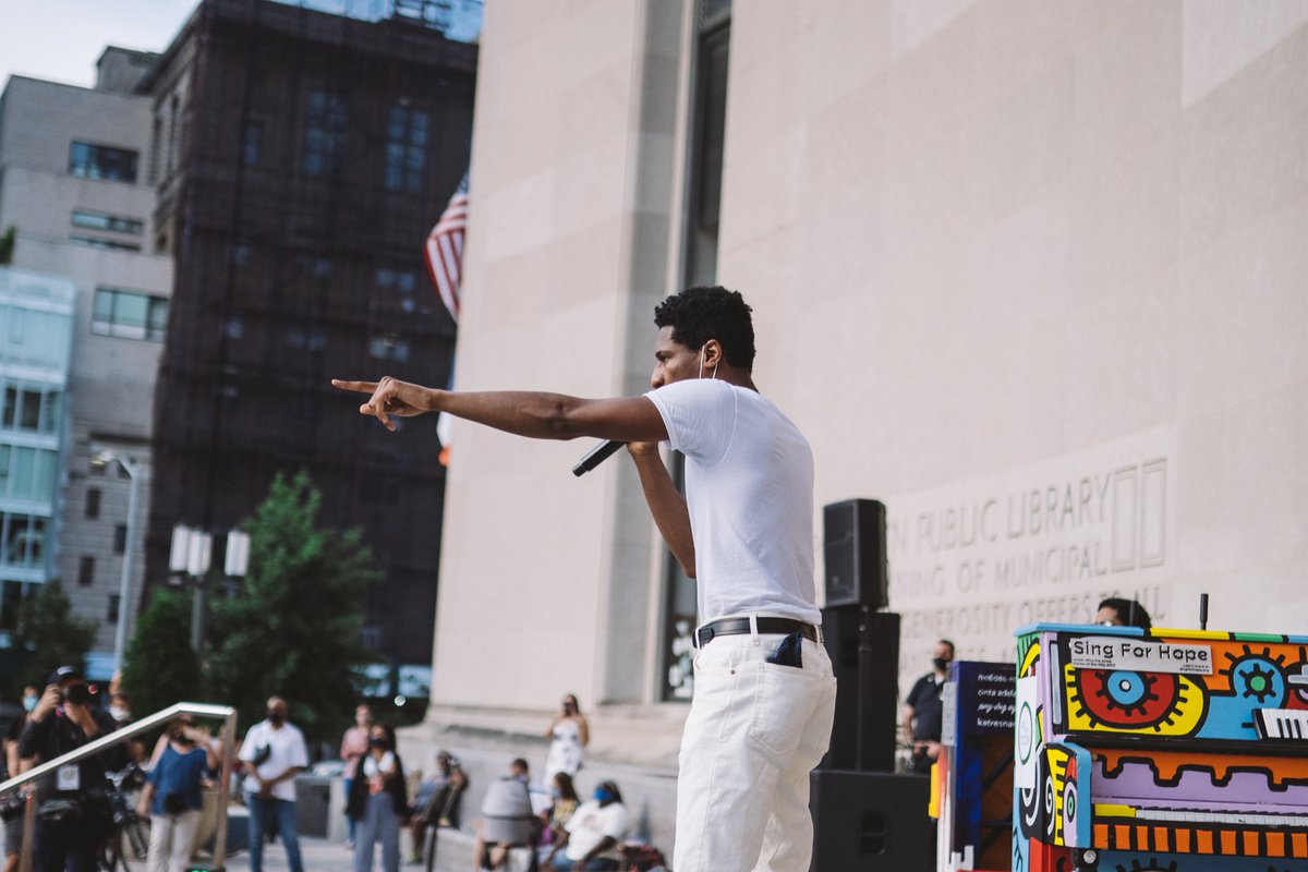 """Thank God for @_MattWhitaker 🖤 (🙏🏾 @singforhope @bklynlibrary @headcountorg) """"This morning, I woke up Feeling brand new and I jumped up Feeling my highs, and my lows In my soul, and my goals"""" #weare #blm"""