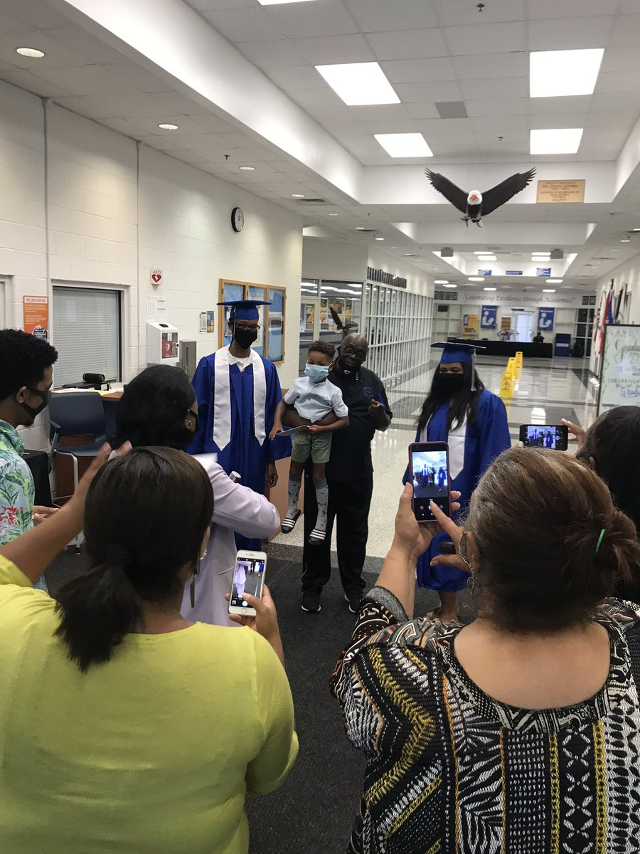 LHS's One and only Coach Reamon welcoming our graduates 🎓 💙🦅