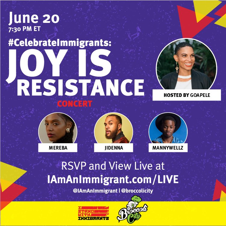 This #ImmigrantHeritageMonth let's not forget the hundreds of thousands of Black immigrants who also face state-sanctioned violence while contributing to our economy and health. Join us Tonight with @Goapele @Jidenna @Mereba @BAJItweet @Tia_Oso et al as we celebrate them