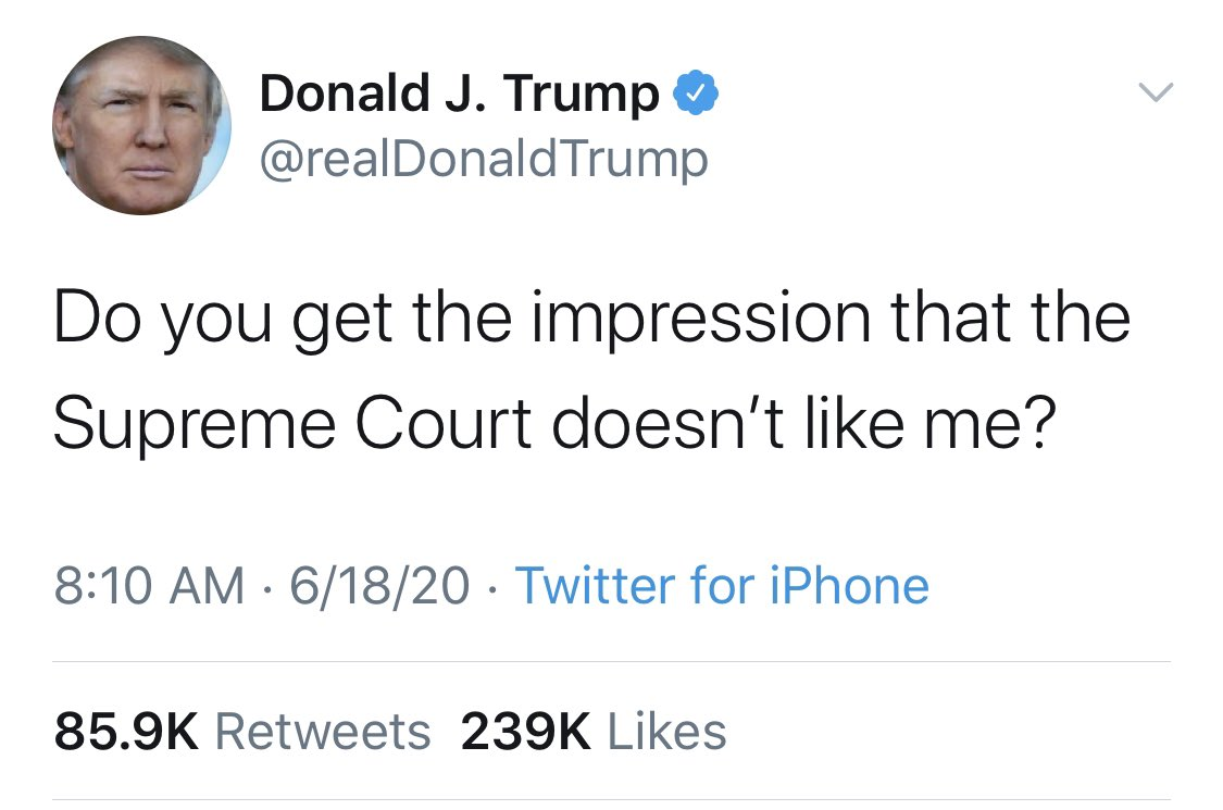 Someone should take 5 minutes to explain to him how the Supreme Court works. #ItAintAboutYou