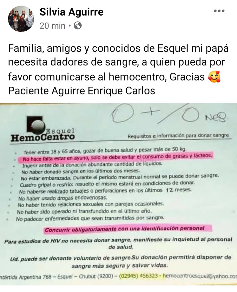 Pedido para amigos y conocidos de Esquel  Necesitamos dadores de sangre https://t.co/39qWTHIXJH