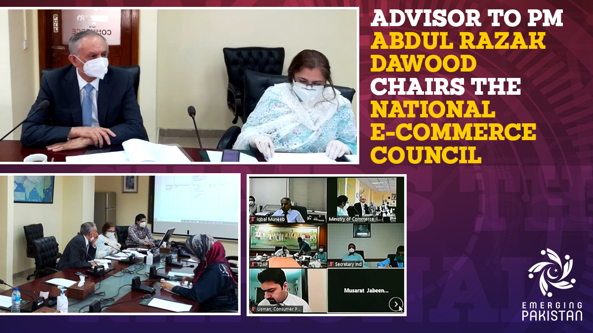 Adviser to the PM on Commerce and Investment, Abdul Razak Dawood, chaired the 2nd meeting of National e-Commerce Council through a virtual online meeting.  @aliya_hamza @PTVNewsOfficial @appcsocialmedia @razak_dawood @pid_gov  #EmergingPakistan https://t.co/AVm8U1p40P
