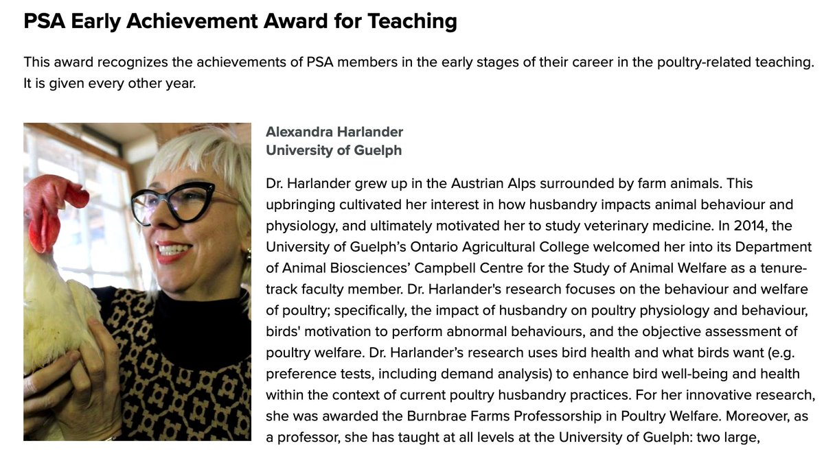 Our very own Dr. Harlander just won the @PoultrySci Early Achievement Award for Teaching and no wonder - she's a captivating lecturer, an enthusiastic colleague, and a compassionate mentor. Plus she does great science! Congratulations Alex 🥂 https://t.co/jaeLkxvF0H https://t.co/4rzLq9GSjt