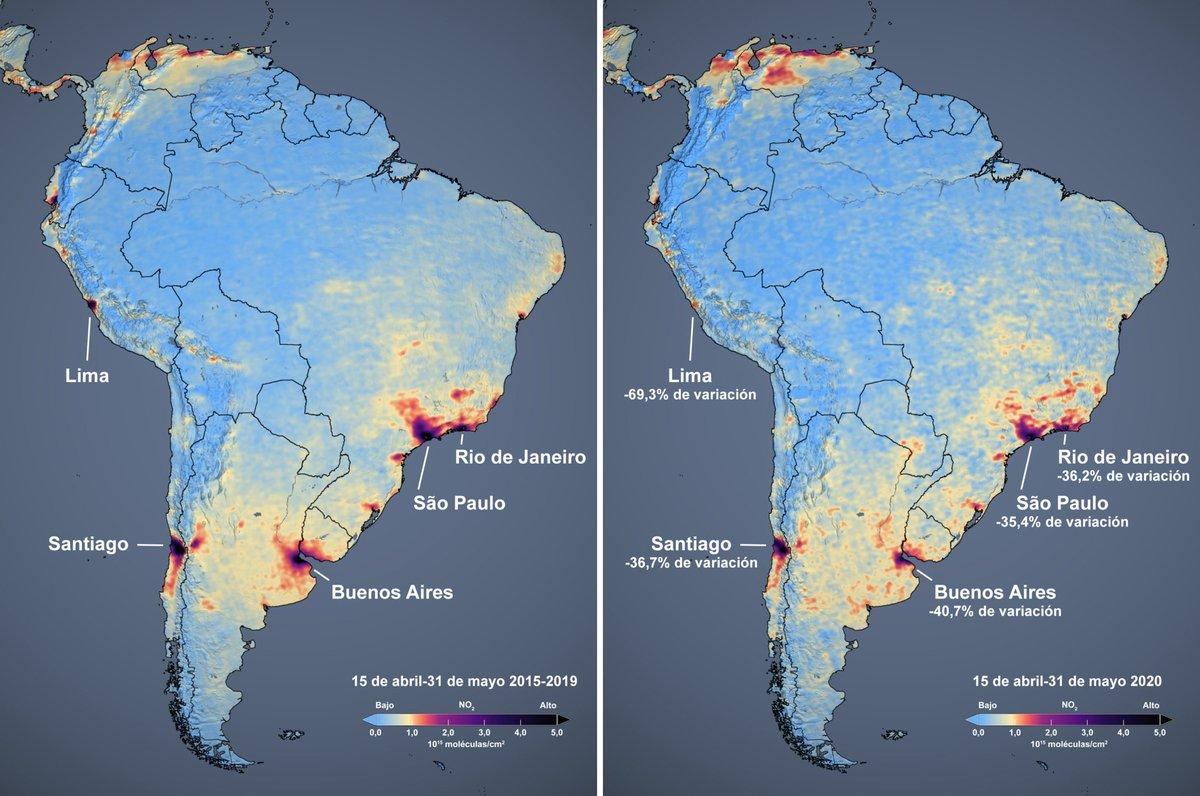 Este mes, la @WHO alertó que América Central y del Sur son ahora zonas intensas para la transmisión del #COVID19. Los satélites muestran una bajada en los niveles de NO2 en América del Sur, probablemente debida a restricciones en la actividad humana. go.nasa.gov/2UVbGYj