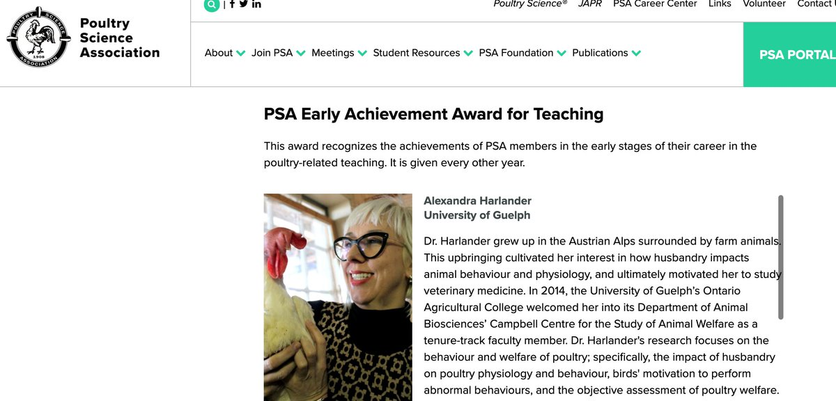 Dr. Alexandra Harlander of @ABSc_UofG receives the @PoultrySci Early Achievement Award for Teaching - what a deserving recipient, a fantastic teacher, and an amazing scientist! @UofGuelphOAC @CCSAW_UofG @UofGResearch https://t.co/RIqJ0X094u