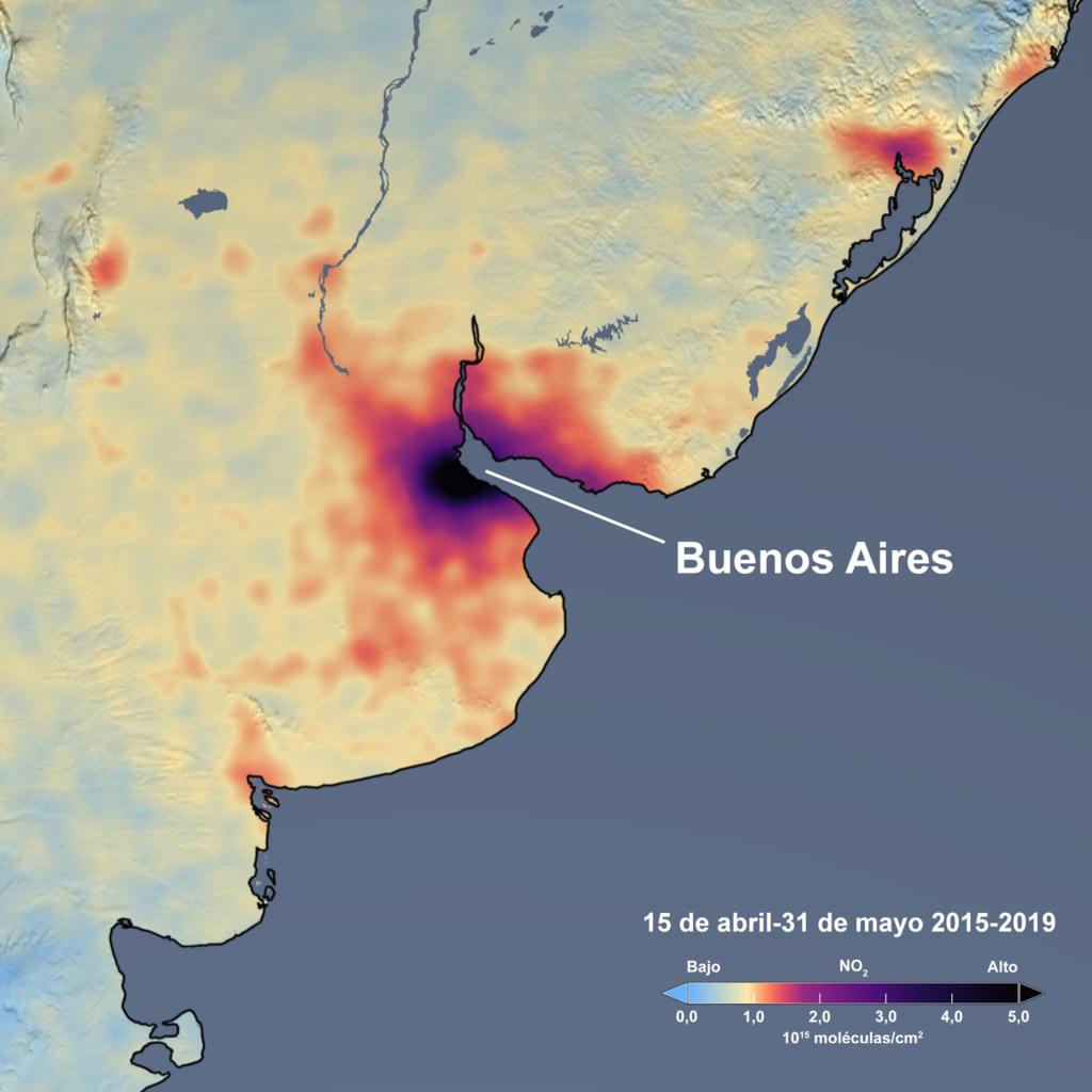 Lima (Perú) experimentó una disminución del 69.3% en las emisiones de dióxido de nitrógeno respecto al promedio para 2015-2019, mientras que Buenos Aires, Argentina, tuvo una disminución del 40.7%.