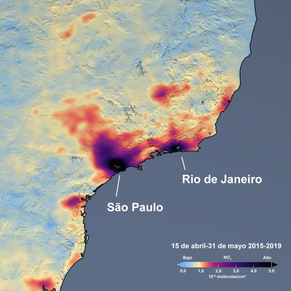 Río de Janeiro y São Paulo (Brasil), junto con Santiago (Chile), experimentaron una disminución de un poco más del 35% en las emisiones de dióxido de nitrógeno respecto al promedio para 2015-2019.