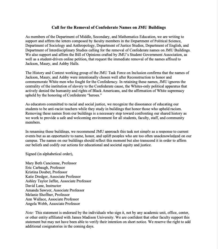 "Happy to join fellow @JMUCoE faculty in calling for @JMU to rename campus buildings to ""reflect this moment but also transcend it in order to affirm our beliefs and codify our actions for educational and societal equity and justice"" @kjdoubet @angelawwebb @emc7x @kdredger https://t.co/xiYRQnRQav"
