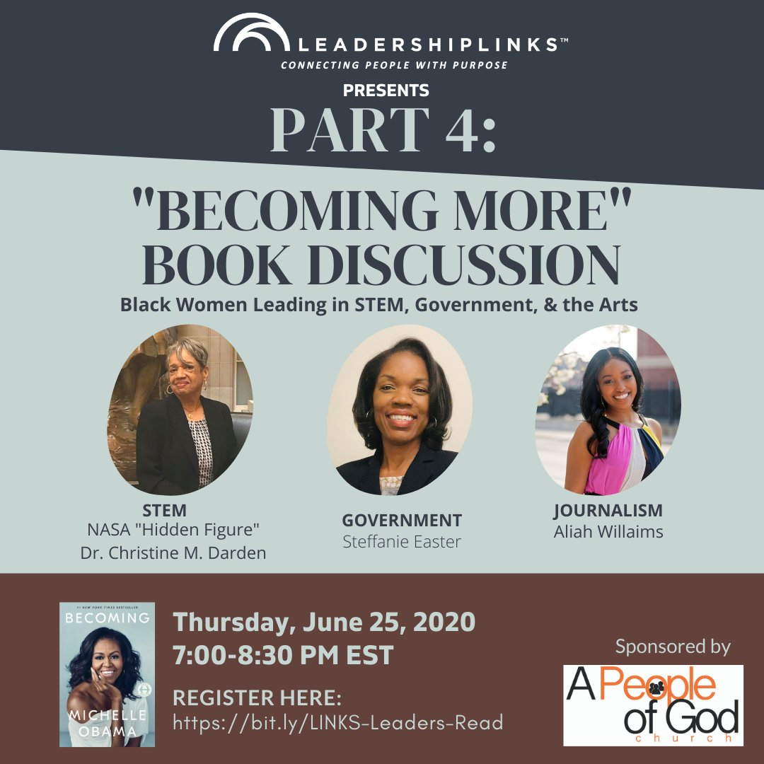 The journey to the top of the leadership chain gets lonelier on the way up. Next week is the last session of our book discussion. Hear women share about the career journeys in leadership. Learn the keys to leading well. #WatchBecoming #LINKSLeadersBecoming #LINKSLeaderStories