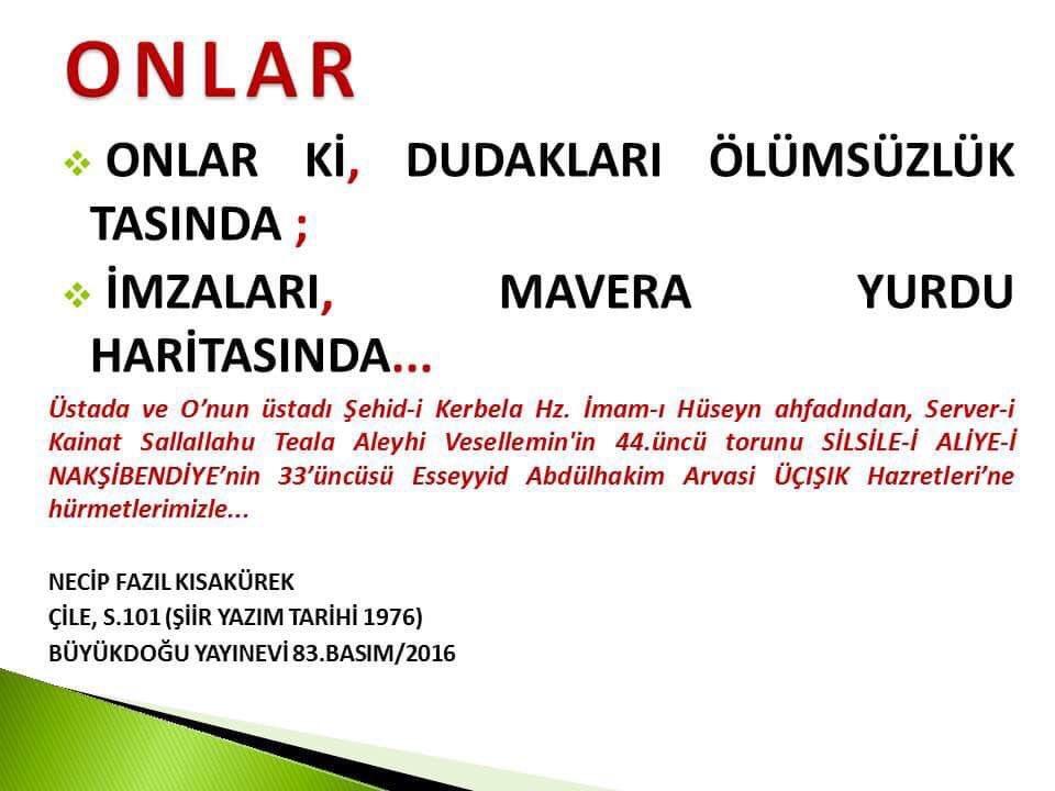 """""""ONLAR"""" Necip Fazıl Kısakürek ve O'nun üstadı Silsile-i Aliye-i Nakşibendiye'nin 33'üncüsü Abdülhakim Arvasi Üçışık Hazretleri'ne hürmetlerimizle #abdulhakimarvasi #arvasi #NecipFazılKısakurek #buyukdogu #şiir #necipfazılkısakürek https://t.co/EHkNOK83rN"""
