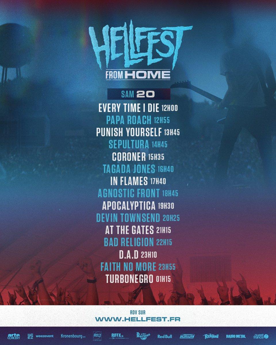 📺 HELLFEST FROM HOME 📺  DAY 2 ! Let's Go !   https://t.co/SobaDHrKS2  Running order : https://t.co/cK4NE4mJ6M  #hellfestfromhome #hellfest   cc @ARTEconcertFR https://t.co/XrhEcExrR4