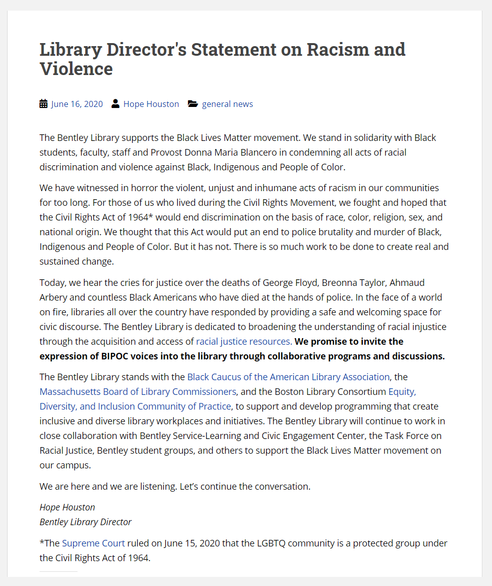 """""""We have witnessed in horror the violent, unjust and inhumane acts of racism in our communities for too long."""" Please read the Bentley Library Director's full Statement on Racism and Violence. #BlackLivesMatter @BentleyU https://t.co/OZe9pUX24E https://t.co/rWGVx9Lr45"""