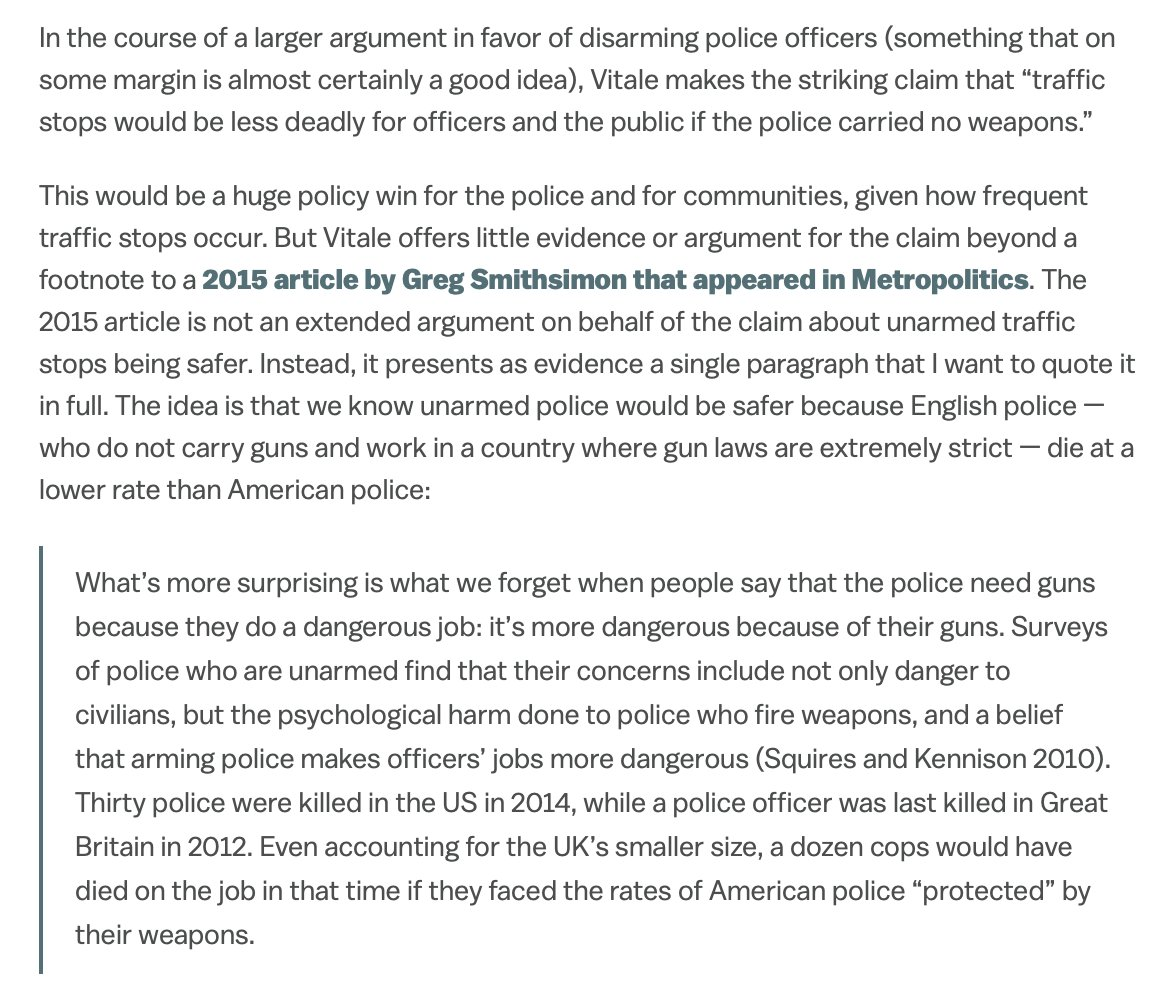Last but by no means least, you should be wary of people who are this sloppy in handling causal inference.  https://www.vox.com/2020/6/18/21293784/alex-vitale-end-of-policing-review