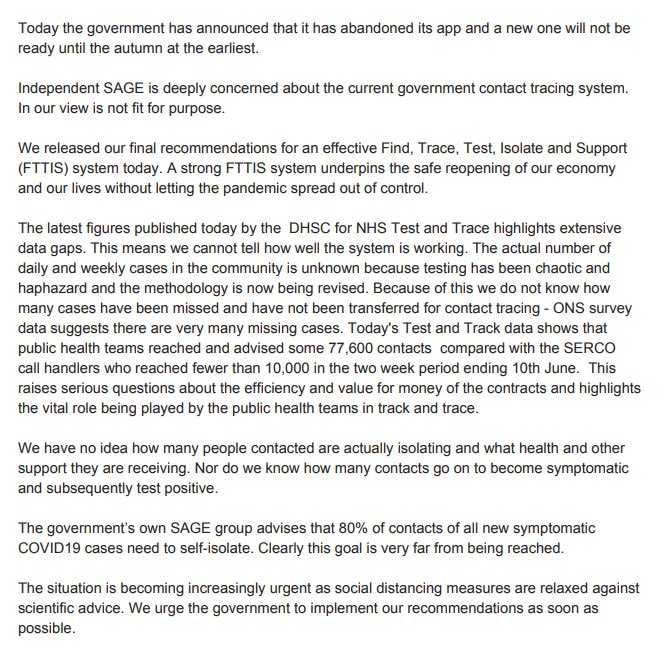 A statement from Independent SAGE about today's news regarding the app. We urge the government to respond to our serious concerns
