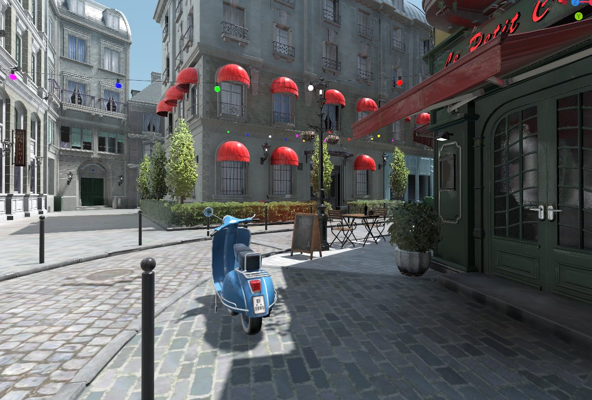 SDFGI rendering at work in a daylight-lit city street