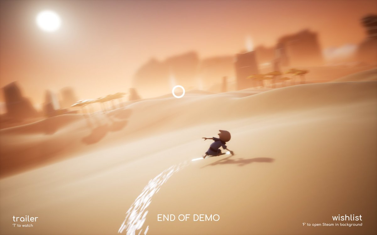 """Then you jump to a desert area and #Omno warns """"the demo is finished"""" but it's way too much fun surfing on your staff. It told me to quit playing. Are you kidding? This is the most fun I'd had in the entire game! https://t.co/QKyDVOUgZa"""