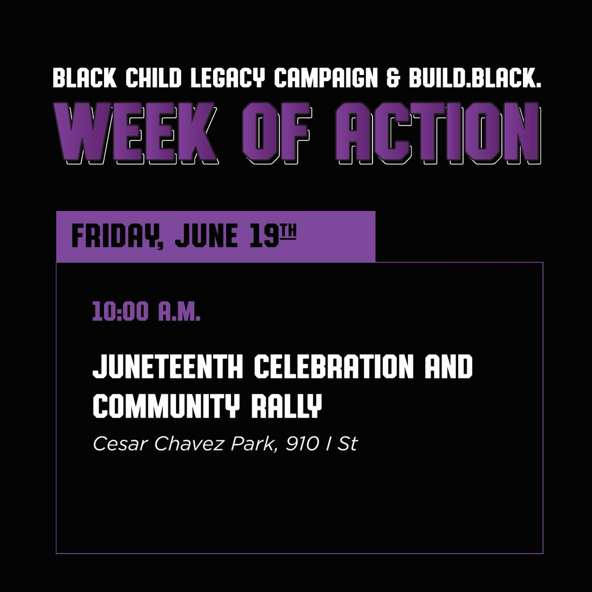 Tomorrow, June 19 ( #Juneteenth ) BCLC will be hosting a celebration and community rally at Cesar Chavez Park from 10am - 11:30am. This rally will be a demonstration to #StoptheViolence, #ReImagineJustice, #InvestInCommunity, and to support and liberate #BlackLivesMatter. https://t.co/xLiMp4AeXK