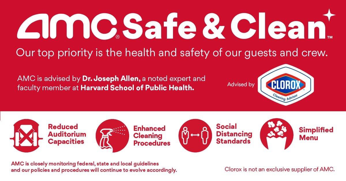 """AMC Is Reopening July 15 🚨 """"We are delighted to announce that AMC will resume theatre operations beginning 7/15, in advance of #Mulan & #Tenet. @AMCTheatres will implement a comprehensive health & sanitation program: AMC Safe & Clean. Learn more: bit.ly/2YNI7c3"""""""