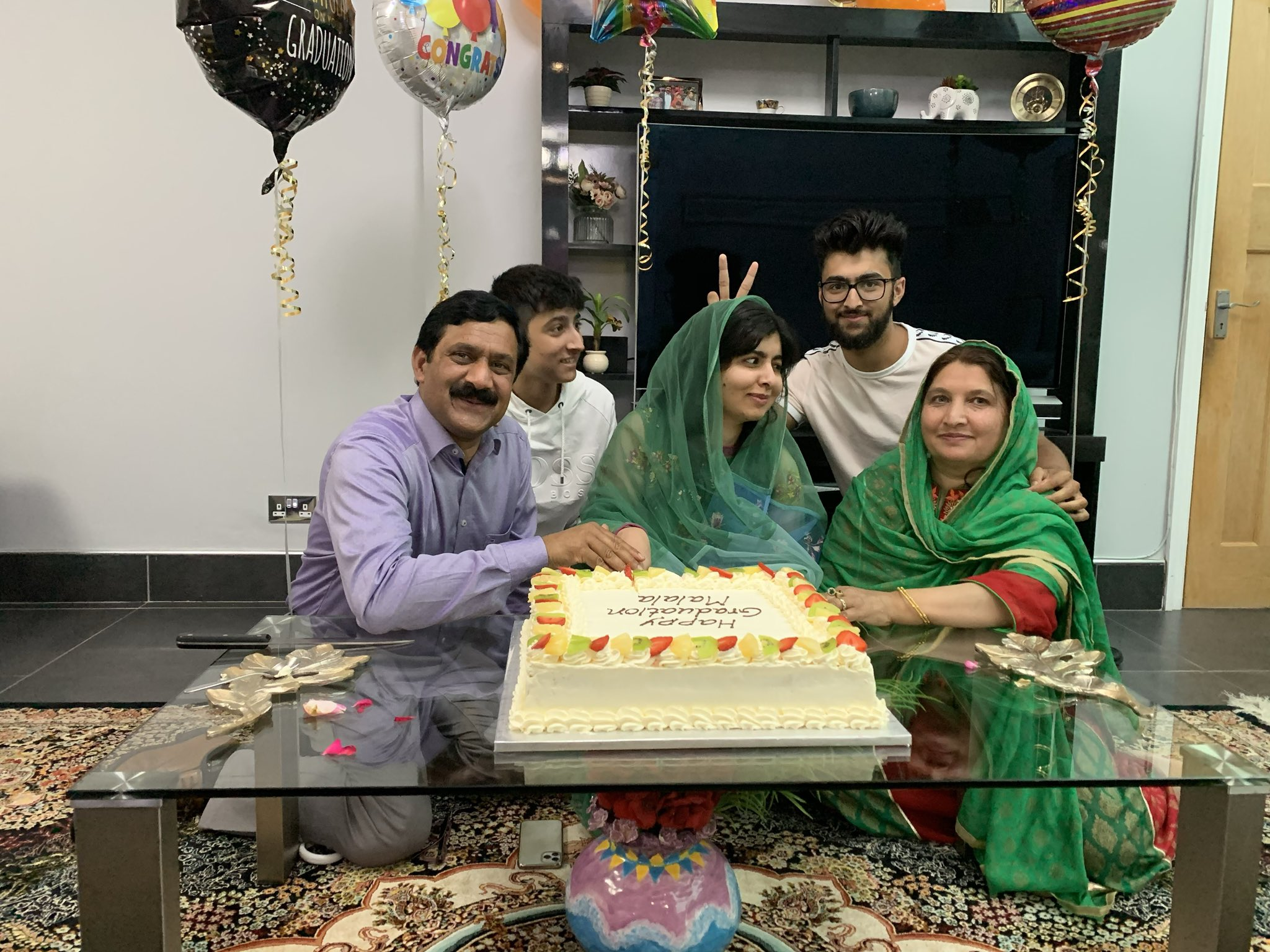 Twitter: Malala celebrates with her family