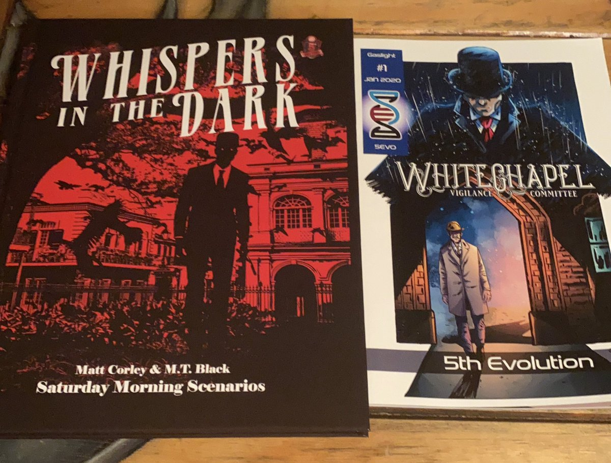 These two 5e books (by @matthewdcorley and @Limitless5e) seem like they'd play so well together. Going to have to find out. #dnd #5e #whispersinthedark #whitechapelvigilancecommittee #saturdaymorningscenarios #limitlessadventures #horrorrpg https://t.co/q3R2YyuSMH