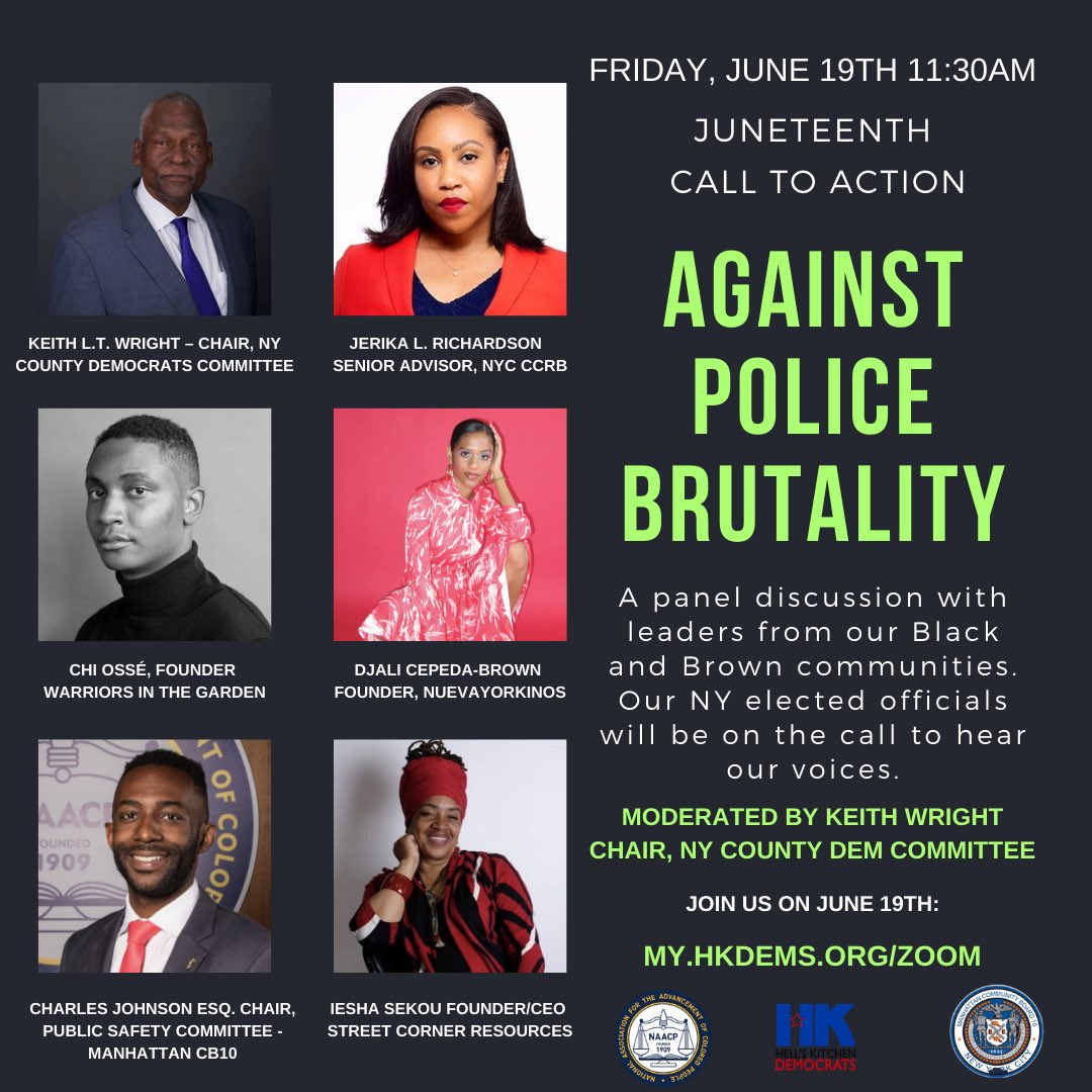 Tomorrow: @HKDemsNYC Juneteenth Call to Action Against Police Brutality