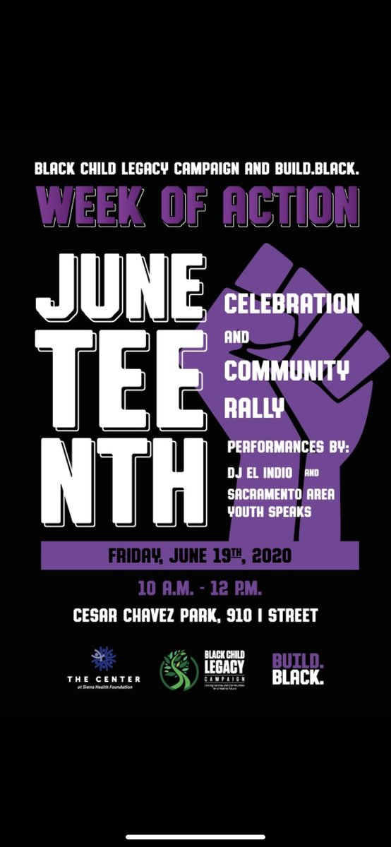 Juneteenth Celebration and Peace Rally tomorrow morning at 10am Cesar Chavez Park!!! Make your voices heard!!! #StoptheViolence #ReImagineJustice #InvestInCommunity #BlackLivesMatter #Sacramento https://t.co/Y4jAi1xkOP
