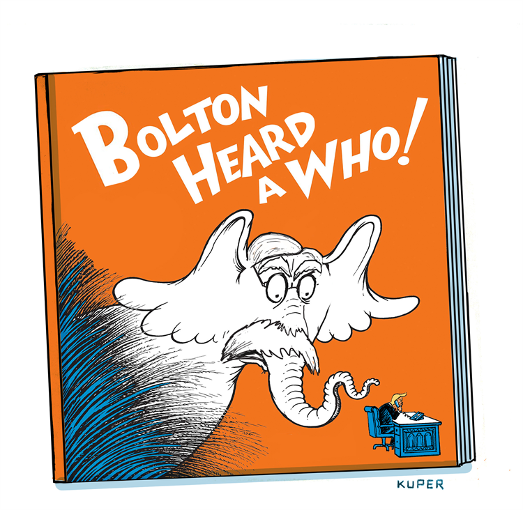 See my favorite cartoons about the #BoltonBook   This is by Peter Kuper Subscribe for free: https://t.co/Q9T1TWi9rw Support the Cartoonists: https://t.co/zUIYTIAbVg  #BoltonsBook #BoltonShouldHaveTestified #BoltonIsATraitor #JohnBolton #JohnBoltonFailedAmerica https://t.co/ChTFgJSLGs
