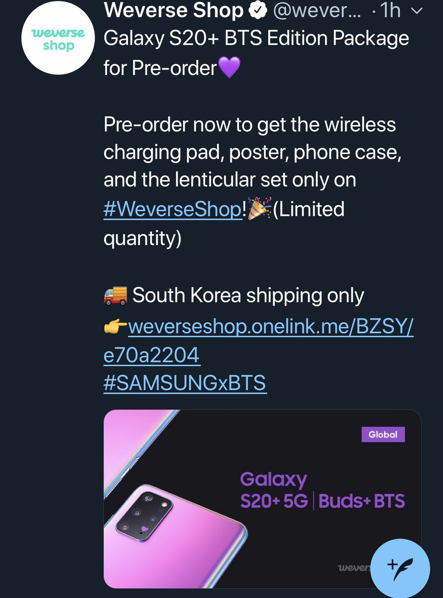 Bts Worldwide 방탄 On Twitter Samsung Galaxy S20 5g Phone Bts Earbuds Edition Package 1 425 60 For Pre Orders Are Now Sold Out On Weverse Global Shop Within An Hour Since It S Notice