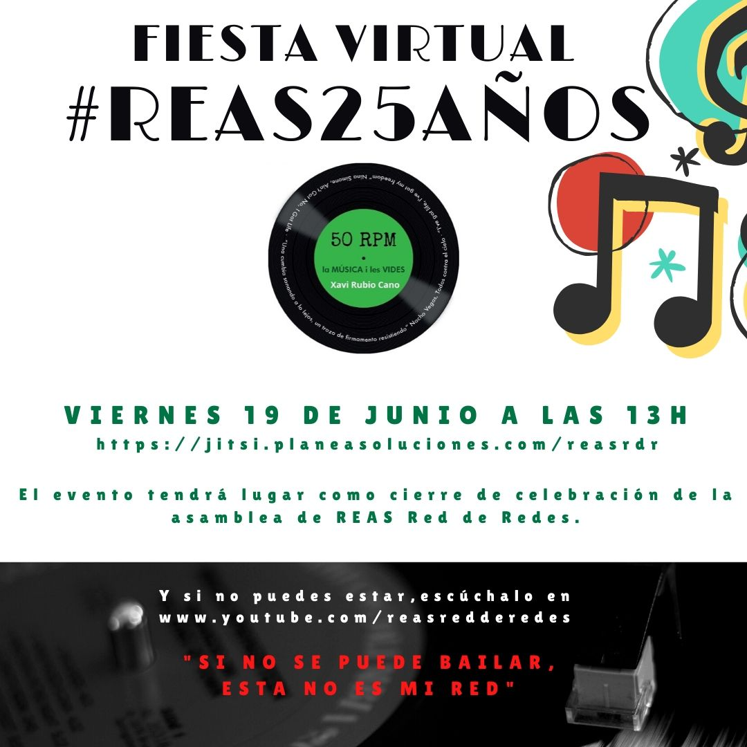 """""""Si no se puede bailar, ésta no es mi red"""" Hoy 13 h celebramos #REAS25Años @Reas_Red Fiesta virtual 🎉🎊🥳 Enhorabuena #EconomíaSocial y Solidaria #ESS  https://t.co/vajLeyP2b1 https://t.co/zAWPT5ftgM"""